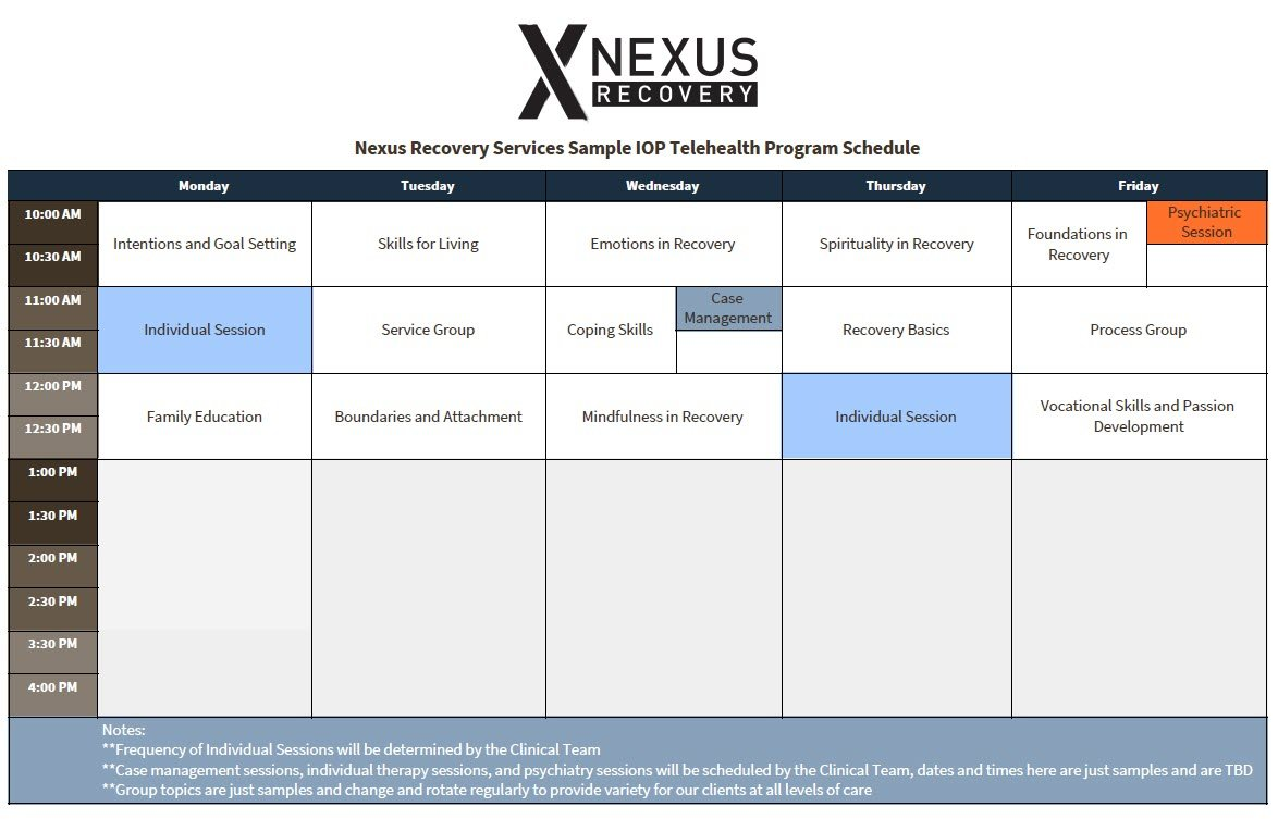 Sample Telehealth Schedule Nexus Recovery Services